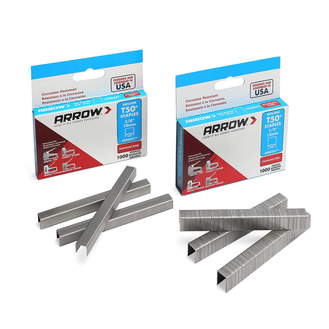 ARROW T50 Staples Pack Set #508SS1 1/2 12mm and #506SS1 3/8 10mm