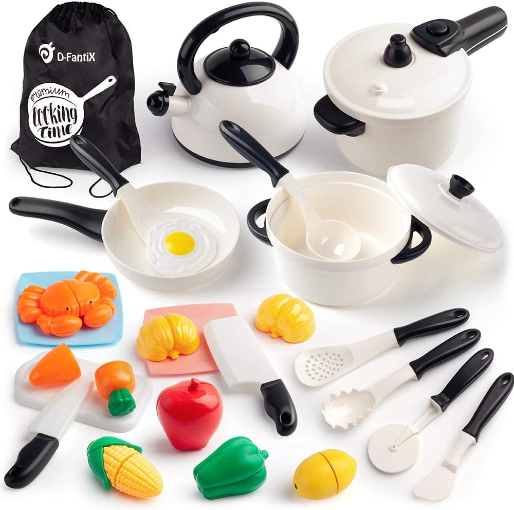 D-FantiX Kitchen Pretend Play Toy Kids Kitchen Playsets Accessories Play Cooking Pots and Pans Set, Pressure Cooker, Utensils, Cutting Food Set for Toddlers Boy Girls 3 4 5 + Years Old
