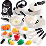D-FantiX Pretend Play Toys Kitchen Accessories Kids Play Pots and Pans Set Cooking Playset with Cookware Utensils Cutting Food Dishes Gift for Toddlers Boys Girls 2 3 4 5 + Years Old