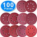 AUSTOR 100 Pieces Sanding Discs 5 inch 8 Holes Hook and Loop 80/180/240/320/400/800/1000/1500/2000/3000 Grit Sandpaper Assortment for Random Orbital Sander