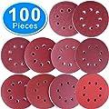 AUSTOR 100 Pieces Sanding Discs 5 inch 8 Holes Hook and Loop 80/180/240/320/400/800/1000/1500/2000/3000 Grit Sandpaper Assortment for Random Orbital Sander