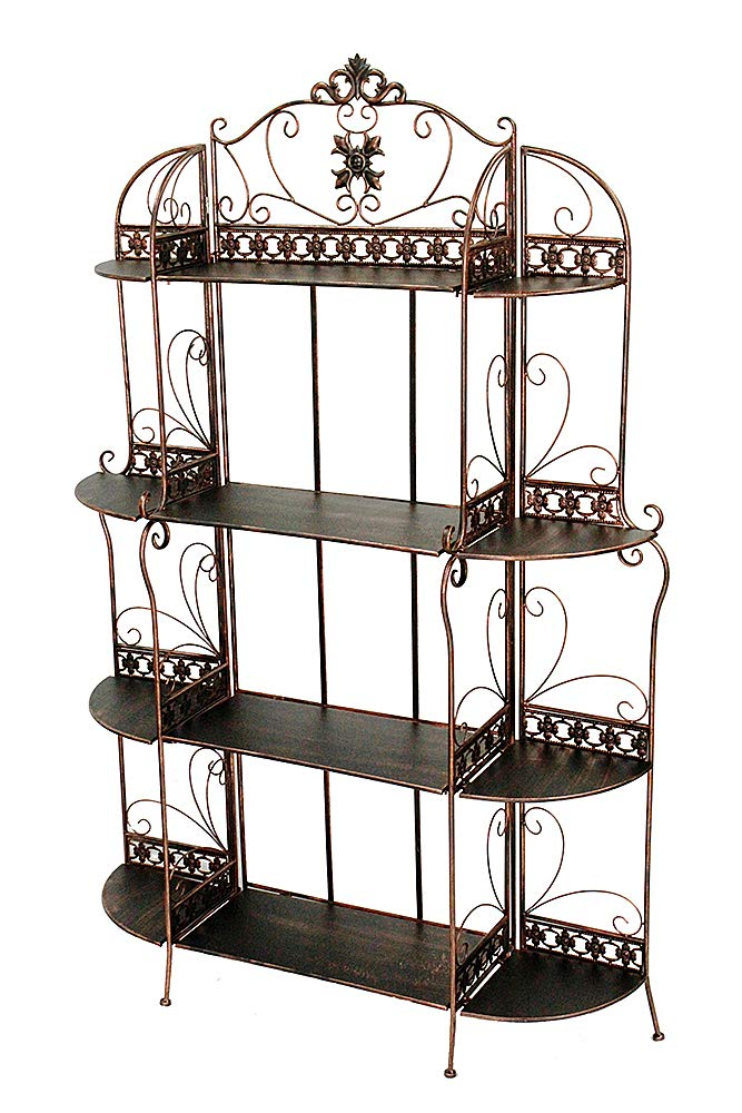 Heather Ann Creations Oliver Collection Contemporary Style Ornate Steel 4 Shelf Bakers Rack, Black/Gold