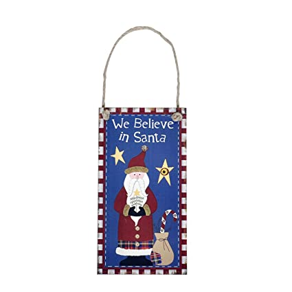 ebtoys christmas hanging wall decoration wooden hanging plaque sign we believe in santa hanging christmas party - Outdoor Christmas Decorations Nj