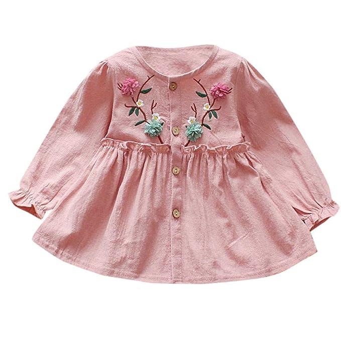 K-youth Vestidos para niñas Vestidos Bautizo Fiesta bebé niña Floral Bordado botón Ropa Bebe