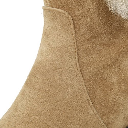 Pull Top Apricot Frosted Solid Boots AgooLar Kitten Low On Heels Women's BHAOR4wqWS