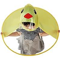 Cute Raincoat, Rain Coat UFO Children Umbrella Hat Foldable Magical Raincoat, Hands Free (Yellow,Duck)