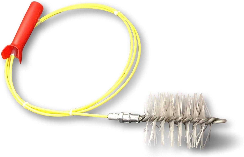 KIBROS 4KIT8S - Kit de deshollinador para estufa de pellet y gránulos, cepillo de erizo sintético, diámetro de 80 mm, conductos, canalones, tuberías de ventilación, amarillo/rojo