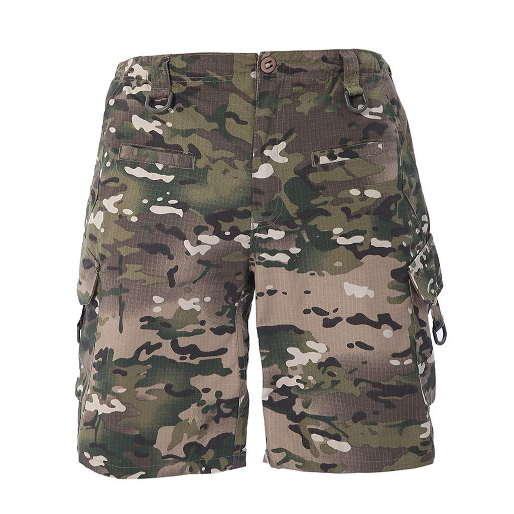 iLXHD Men's Work Short Camouflage Summer Fashion Casual Overalls Multi-Pocket Shorts Pants by iLXHD