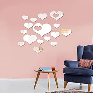 Shappy Removable Acrylic Mirror Setting Wall Sticker Decal for Home Living Room Bedroom Decor (Love Heart Shape, 33 Pieces)