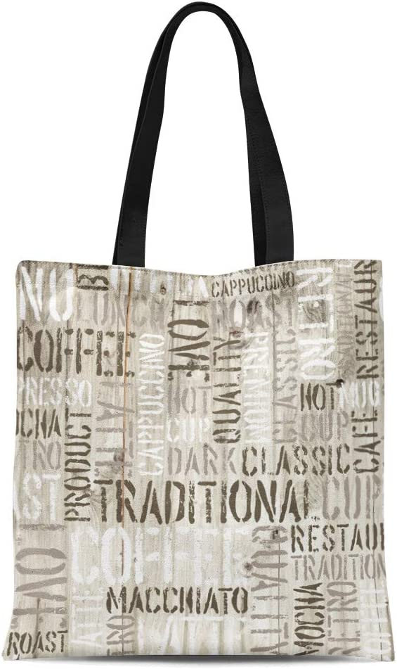 Semtomn Canvas Tote Bag Shoulder Bags Mocha Brown Cup Coffee Words Wooden Latte Text Pattern Womens Handle Shoulder Tote Shopper Handbag