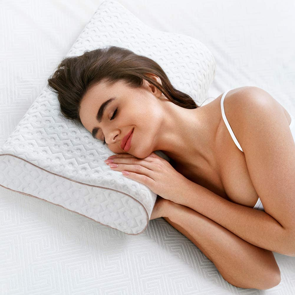 Orthopedic Pillows for Neck Pain Ergonomic Cervical Pillow for Shoulder Pain//Back Stomach//Side Sleepers with Removable Washable Pillowcase,Standard Size BedStory Memory Foam Pillow