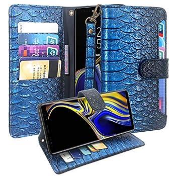 Samsung Galaxy Note 9 Case, CimdaUS Luxury PU Leather Wallet Flip Folio [Kickstand] Case Cover with Card Slot & Wrist Strap for Samsung Galaxy Note 9 (Blue)