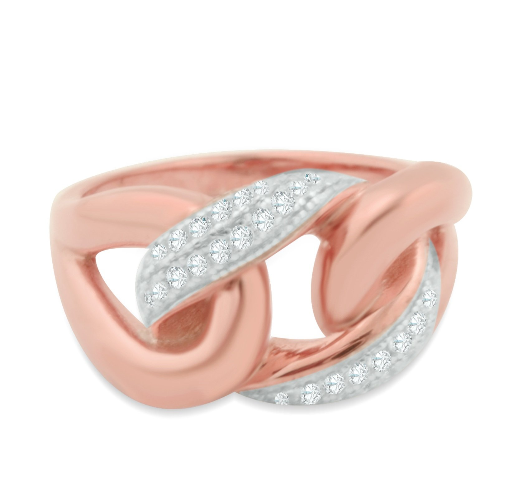 Midwest Jewellery Rose Gold-Tone Statement Ring Anniversary Fashoin Ring With White CZ Couture Style