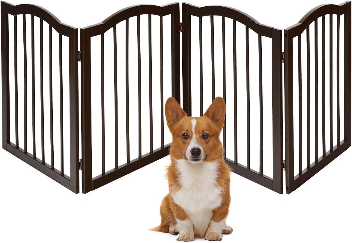 COSTWAY Barrera de Seguridad Plegable para Perros Valla Protección de Madera para Habitación Puerta Escalera Chimenea (204 x 61 x 2 cm)