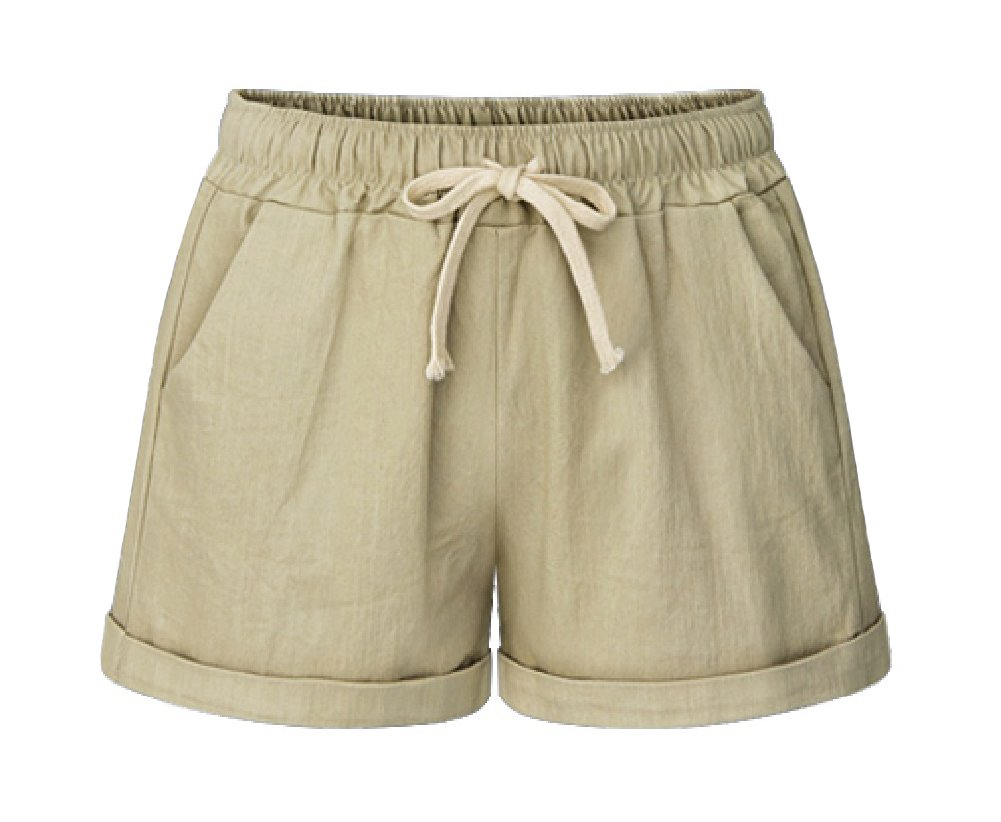 MO GOOD Women's Elastic Waist Cotton Casual Beach Shorts with Drawstring (Khaki, US 4-6)