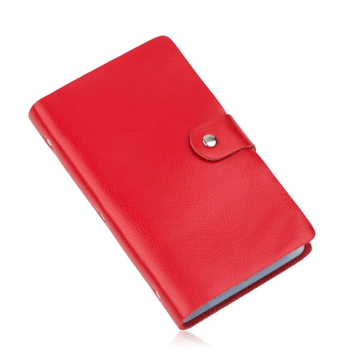 Cool-Shop® - Porta carte di credito, biglietti da visita e carta d'identità in pelle con 90 spazi. Red