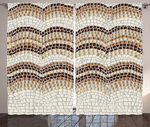 Beige Decor Curtains Gradient Colored Mosaic Waves Setting Antique Roman Royal Dated Aged Retro Patterns Living Room Bedroom Decor 2 Panel Set Beige Tan Brown For Sale
