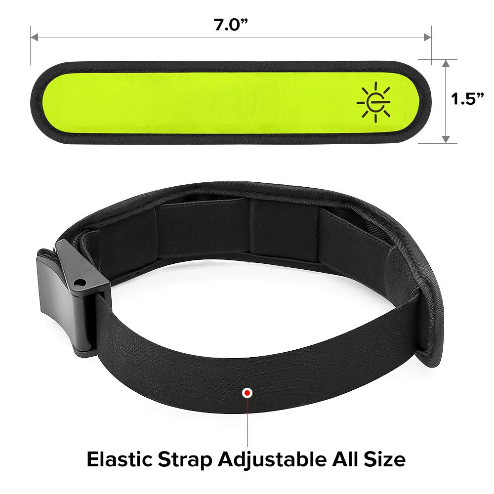 Light Up Reflective Running Gear Flashing Arm Bands Cyclists Pack of 2 PCS Glowing Event Wristbands with Elastic Band Ezer LED Armbands Joggers for Runners