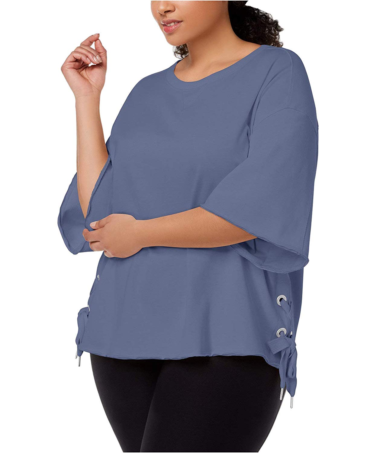 4979e639adb6be Calvin Klein Women s Plus Size Relaxed Bell-Sleeve Top Blue Ashes 2X   Amazon.com.au  Fashion