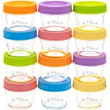 Glass Baby Food Storage Containers Set of 12, Leakproof 4 oz Glass Baby Food Jars with Lids & Marker, Reusable Small…