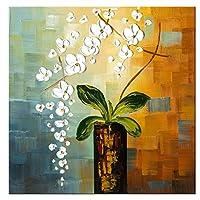 Wieco Art - Beauty of Life 100% Pintado a mano Modernas ilustraciones Florales Abstractas Pinturas al óleo sobre lienzo Arte de pared para decoraciones para el hogar Decoración de pared 24 por 24 pulgadas FL1066-1