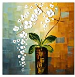 Wieco Art Beauty of Life 100% Hand-painted Modern Flower Artwork Abstract Floral Oil Paintings on Canvas Wall Art for Home Decorations Wall Decor 24 by 24 inch FL1066-1