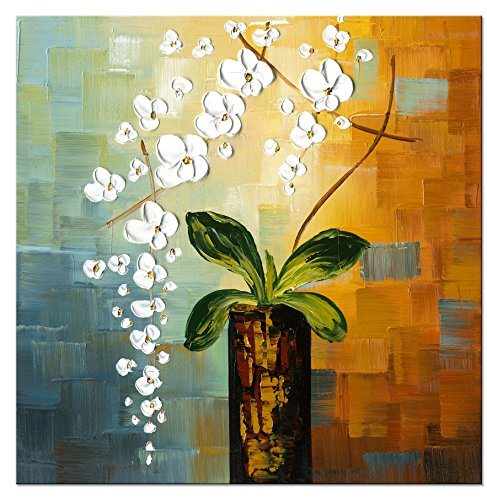 Wieco Art - Beauty of Life 100% Hand-painted Modern Flower Artwork Abstract Floral Oil Paintings on Canvas Wall Art for Home Decorations Wall Decor 24 by 24 inch FL1066-1 (Hand Painted Bathroom)