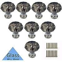 Tencro, 8 pomelli in cristallo a forma di diamante da 30 mm con viti, adatti a cassetti, porta, porta dell'armadio, cucina e altro. Argento, grigio e viola