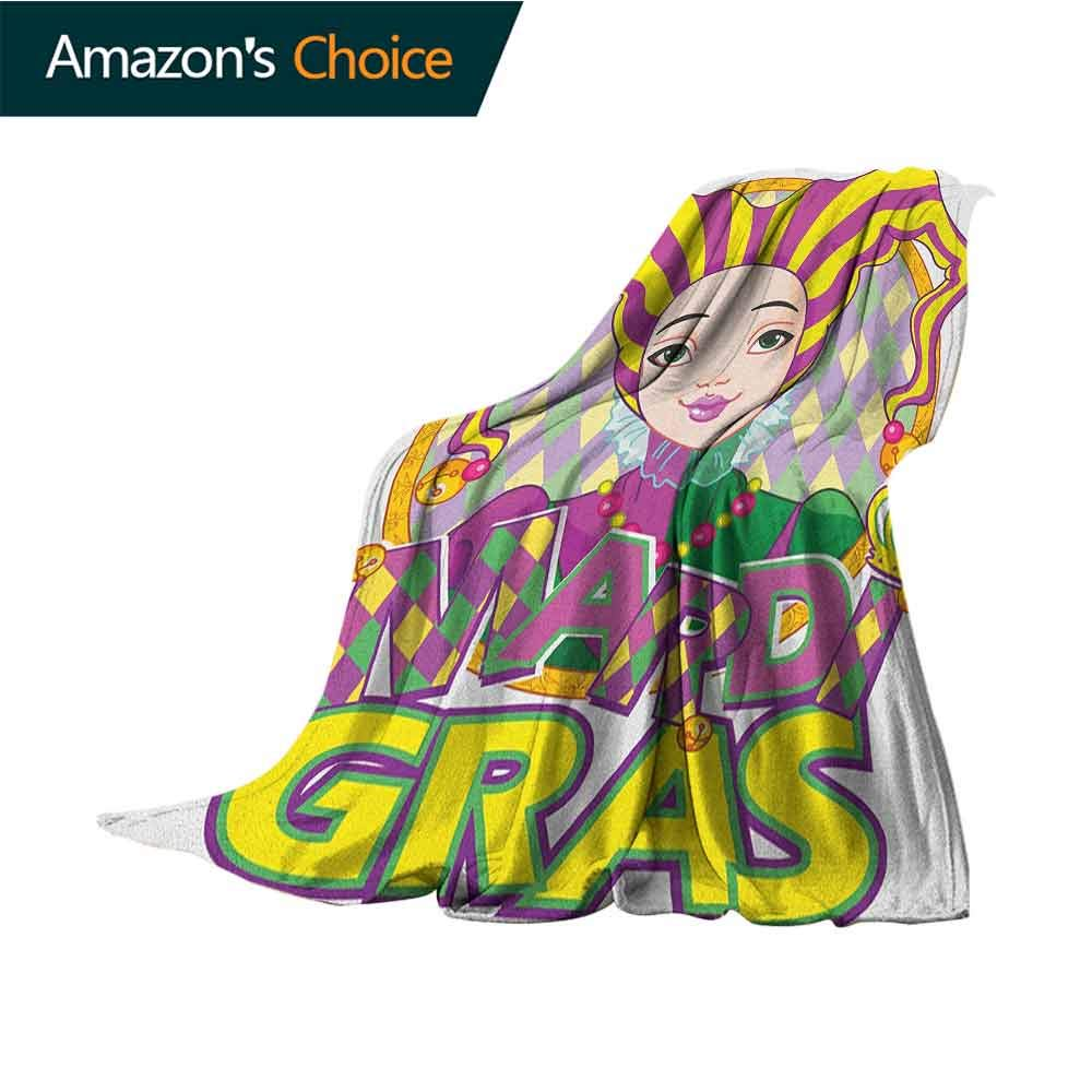Mardi Gras Baby Blanket,Carnival Girl in Harlequin Costume and Hat Cartoon Fat Tuesday Theme Cozy Blanket for Couch Sofa Bed Beach Travel,70'' Wx90 L Yellow Purple Green