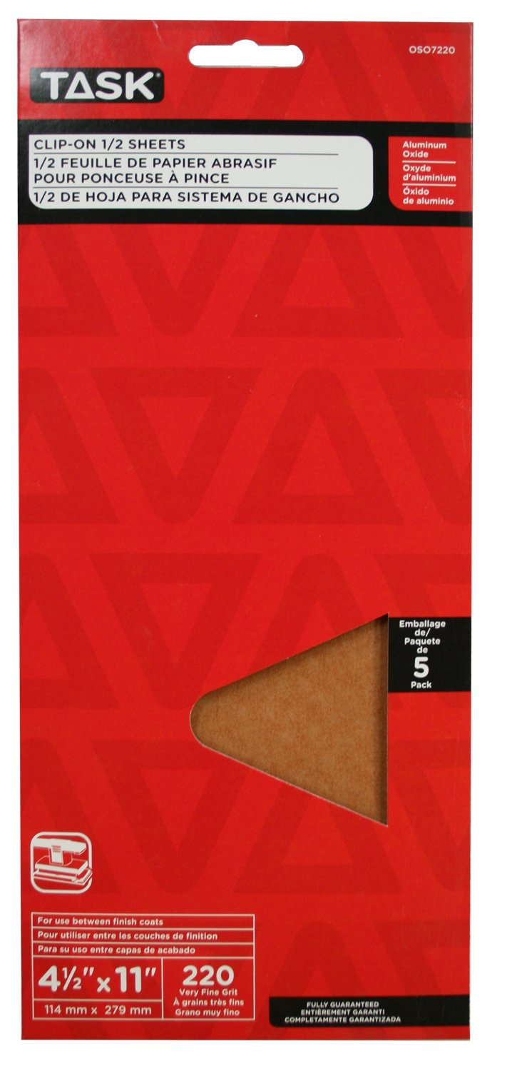 Task Tools 220 Grit 5-Pack LCM Team Task Tools OSO7220 4-1//2-Inch by 11-Inch Clip-On 1//2-Sheet Sandpaper