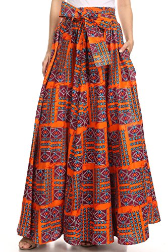 Sakkas 16317 - Asma Convertible Traditional Wax Print Adjustable Strap Maxi Skirt | Dress - 8-Orange/Turq - OS