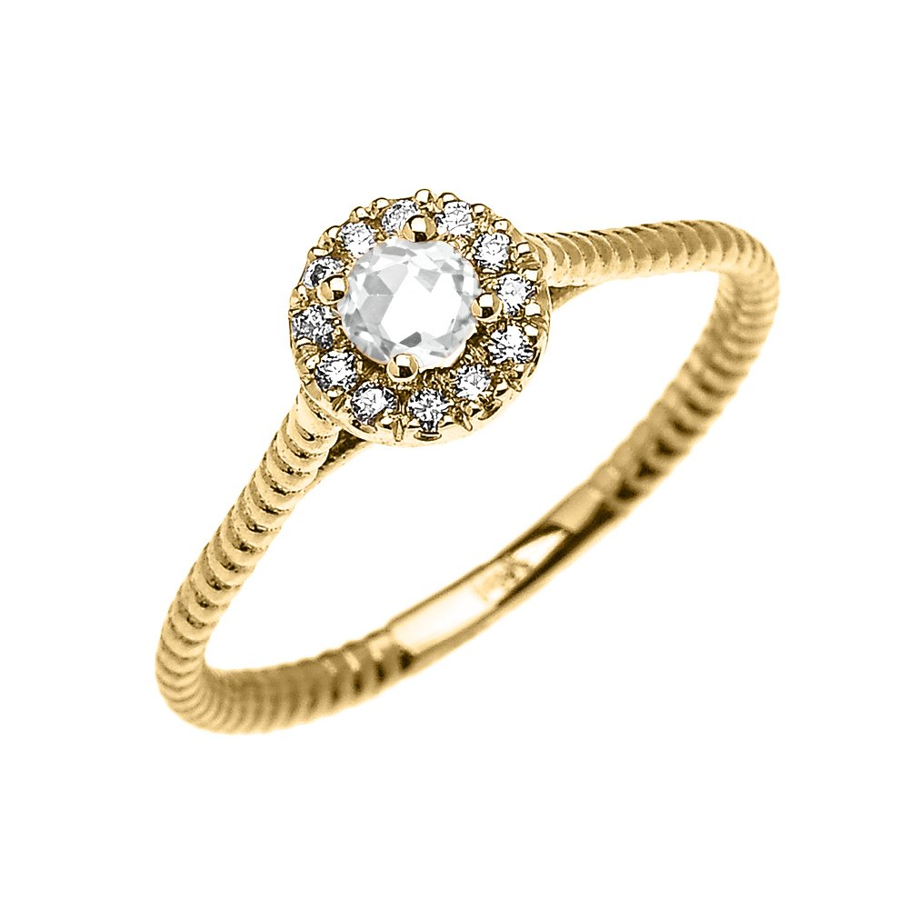 10k Yellow Gold Dainty Halo Diamond and Solitaire White Topaz Rope Design Promise Ring(Size 7)