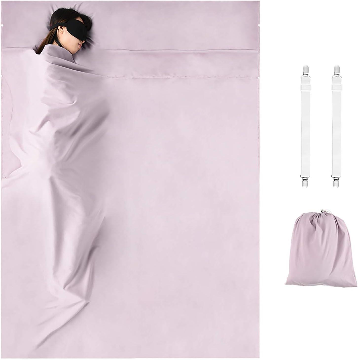 Wilxaw Sleeping Bag 180 x 210 cm, Travel Sleeping Bag Ultralight with Pillow Case