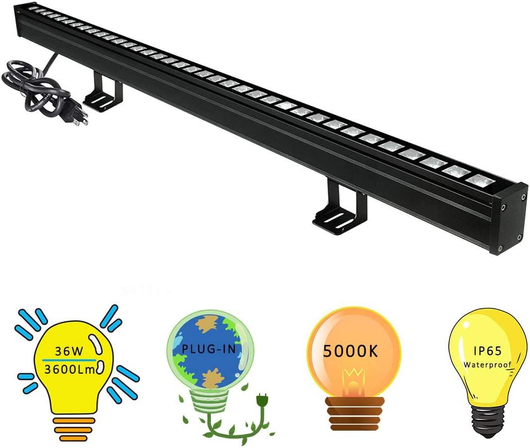 New Upgraded Wall Washer LED Lights with 10×60 Wide Angle, YRXC 36W 5000K Daylight Wall Washer Light, IP65 Waterproof Outdoor Indoor Bar Lights, 120V LED Light Bar for Art Display Sign Wall Lighting