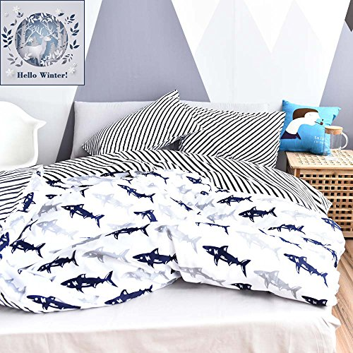 BuLuTu Navy Blue/Grey Shark Print Pattern Cotton US Queen Bedding Duvet Cover Sets(1 Duvet Cover 2 Pillow Shams)White For Kids Boys Full Quilt Bedding Sets With 4 Corner Ties Wholesale - Full Queen Quilt Bedding