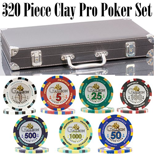 320 Piece Pro Poker Clay Poker Set - 2x PLASTIC CARDS with cutting cards - REINFORCED leather case - FREE Poker Felt (Heavy weight clay chips - 320pcs, Model C) - Poker Poker Pro Clay