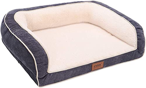 EMME Orthopedic Dog Beds 27 36 44 50 inches for Small, Medium and Large Dogs Cats Removable Cover Dog Sofa Bed Ultra Plush Deluxe Dog Couch Pet Bed