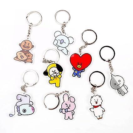 Havenport 8 Pack Kpop BTS Keychain TATA CHIMMY Cooky RJ MANG KOYA SHOOKY Bangtan Boys Key Ring (Style 5)