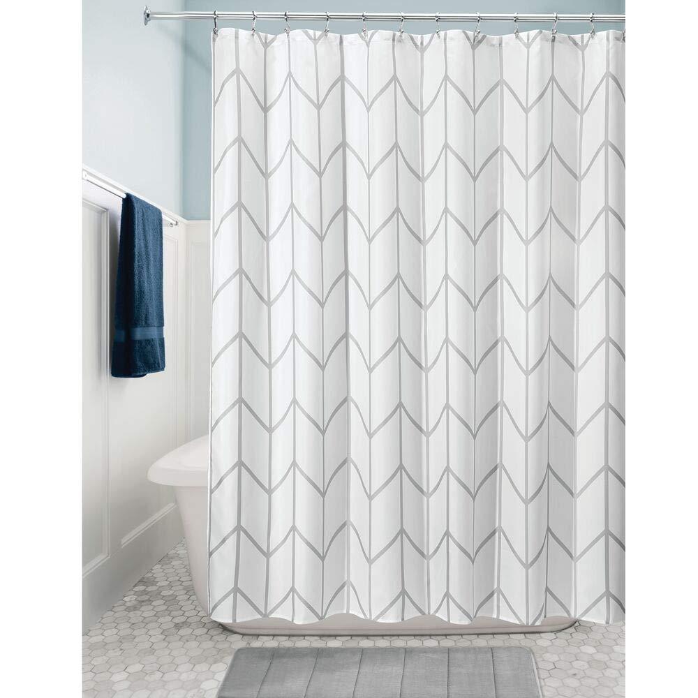 mDesign rideau de douche en PEVA rideau de bain et douche avec motif g/éom/étrique accessoire de salle de bain pour la douche gris et blanc