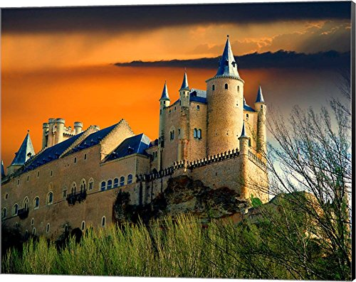 Alcazar castle at sunset, Segovia, Spain by Jaynes Gallery / Danita Delimont Canvas Art Wall Picture, Museum Wrapped with Black Sides, 20 x 16 inches by Great Art Now
