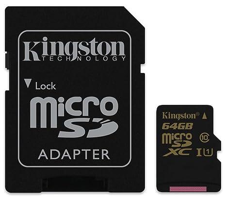 Kingston SDCA10/64GB - Tarjeta UHS-I SDHC/SDXC de 64 GB (Micro SDXC, Clase 10, 90R/45 W)