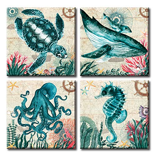 BLINFEIRU Coastal Furniture and Decor - Ocean Wall Art - Large Home Sea Turtle Canvas Pictures Print Artwork for Teal Blue Themed Living Room Kitchen Walls Bathroom - Framed Ready to Hang