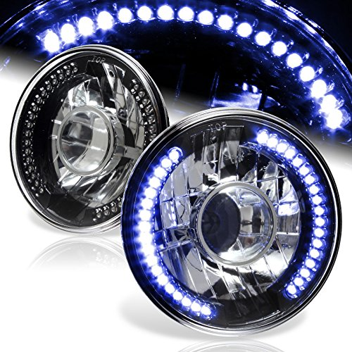 "7/"" Round H6024 H6017 Blue LED Sealed Beam Black Housing Projector Headlights"