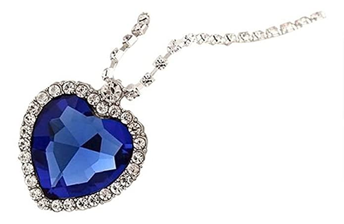 Vintage Style Jewelry, Retro Jewelry Isijie jewelry Ladies Fashion Royal Blue Heart of Ocean Titanic Pendants Sapphire Crystal Necklace for Women $11.09 AT vintagedancer.com
