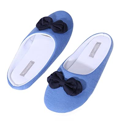 54ac6cb77690a8 WILLIAM KATE Women s Comfort Cotton House Shoes Ballerina Slippers w Indoor  Outdoor Rubber Sole (7