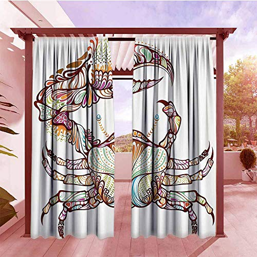 AndyTours Rod Pocket Pattern Curtains Modern Embellished Crab Fish with Ethnic Ornate Lines Ocean Animal Cancer Illustration Simple Stylish W84x72L Multicolor