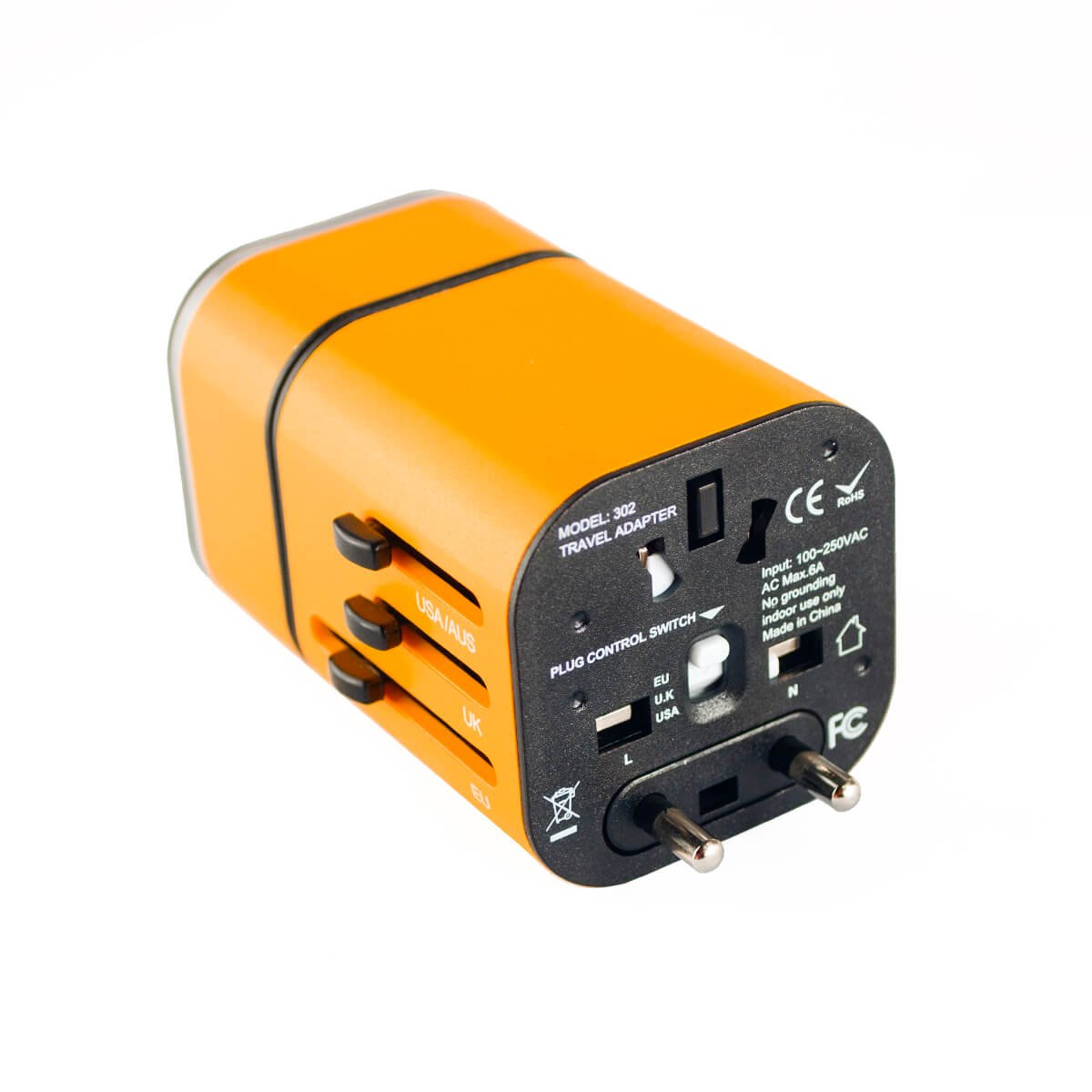 Travel Adapter Worldwide All in One Universal Travel Adaptor Wall AC Power Plug Adapter Wall Charger with Dual USB Charging Ports for USA EU UK AUS(Orange)