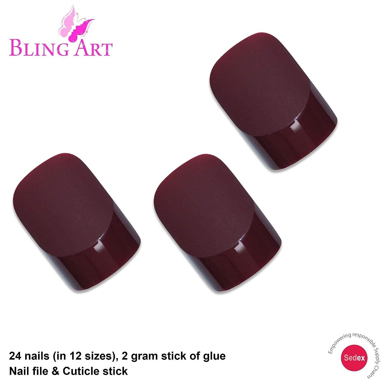 Amazon.com: Bling Arte Uñas Postizas francés falso color ...