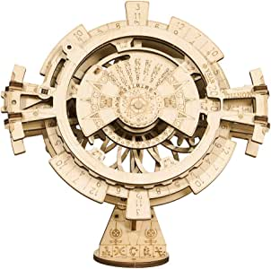 ROKR Wooden Puzzle with Gear Mechanical Model Construction Kits Model Building Moving Kit Engineering Toys for Adults Perpetual Calendar