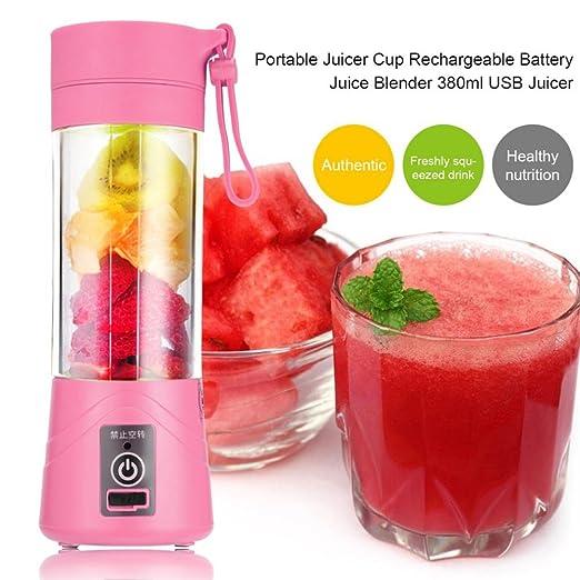 TOOGOO 380ml Vaso botella de licuadora recargable USB Batidora de citricos de jugo Exprimidores de batido de leche fruta verduras limon Botella de ...